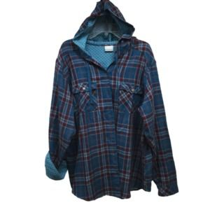 Columbia Teal Plaid Hood Shirt Jacket 3X